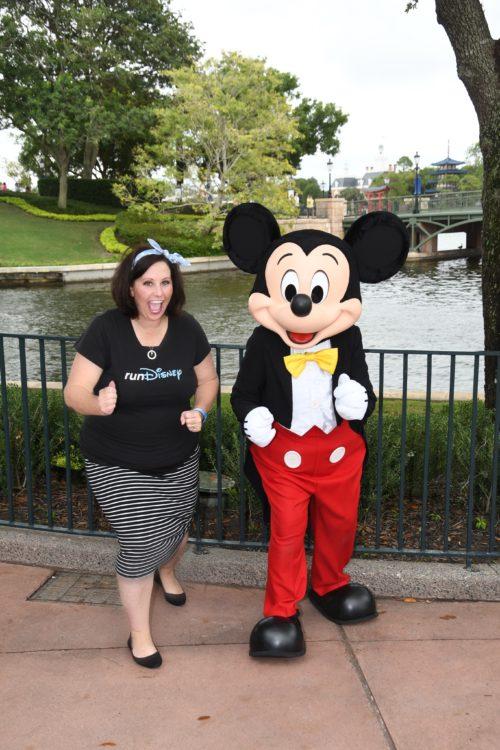 rundisney travel agent and mickey mouse at walt disney world epcot resort